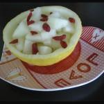 Coppetta di melone gialletto al moscato e bacche di goji