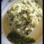 Risotto al pesto di basilico con patate e fagiolini